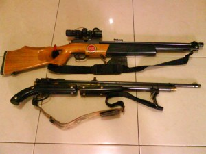 Senapan pribadi untuk berburu, jenis pompa dan high pressure air.